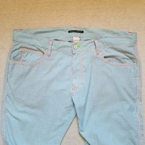 Andrew Christian seersucker lounge pants blue 36